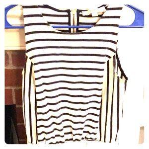 White and Navy Stripe LOFT dress.